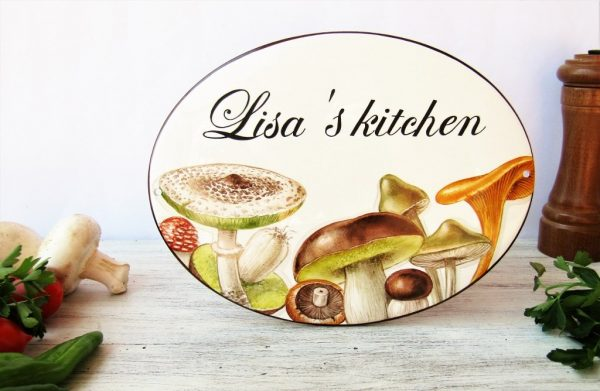 hand painted mushroom kitchen sign