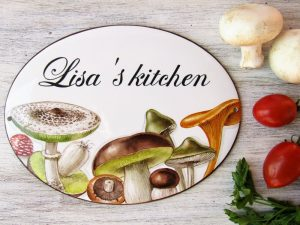 personalized hand painted mushrooms porcelain kitchen sign
