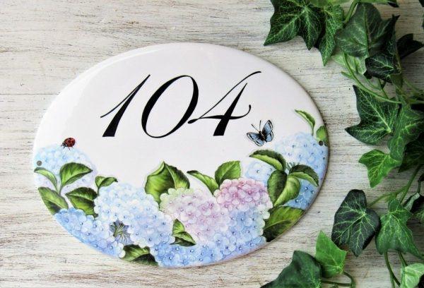 Hydrangea Custom House Number Plaque