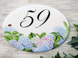 hydrangea house number plaque