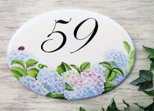 hydrangea house number plaque
