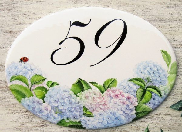 hydrangea personalized street number plaque