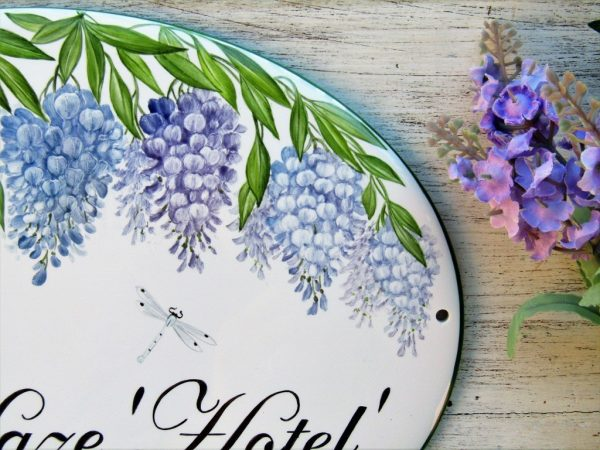 wisteria branches detail on custom garden sign