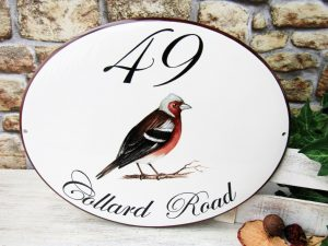 Custom House Address Sign with Chaffinch Bird