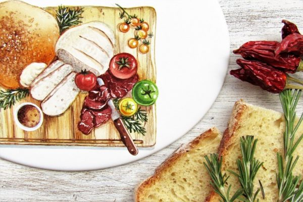 detail of rustic cutting board decoration