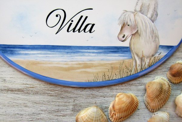 custom beach house name sign with pet portrait