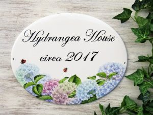 Personalized hand painted house sign with hydrangea decor