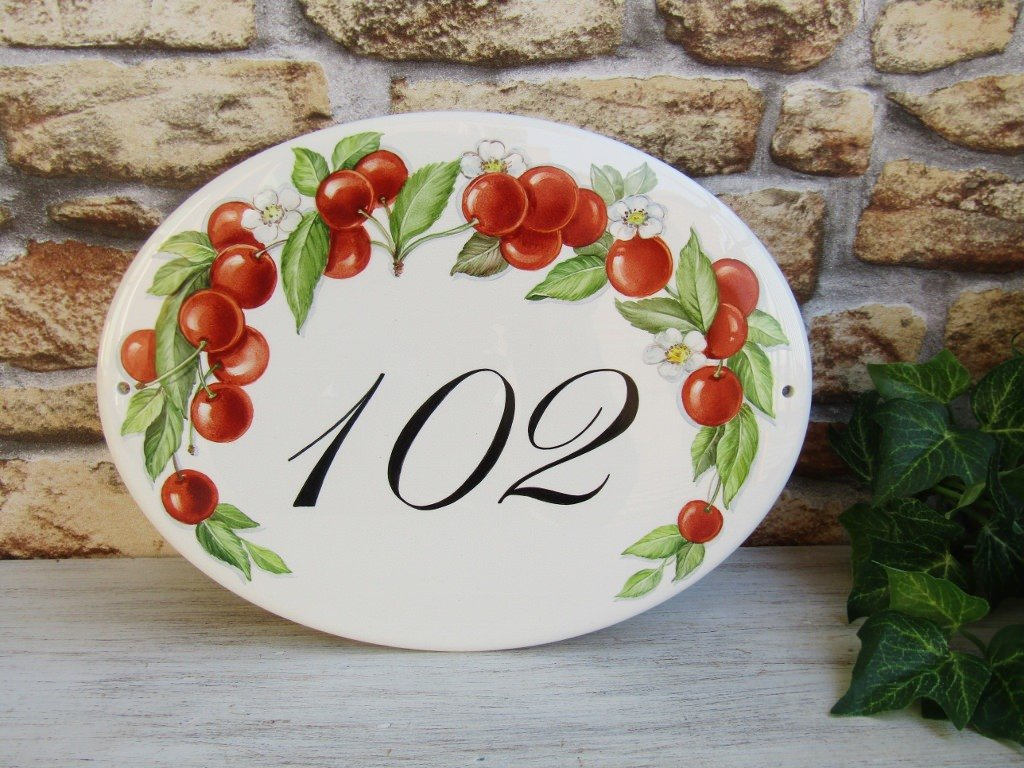 red cherries house number plaque