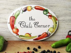 chili peppers custom kitchen sign