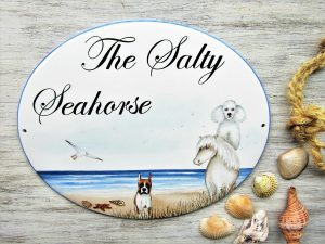 custom pet portrait beach house sign