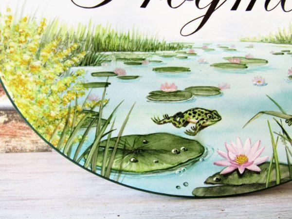 custom frog pond address sign detail