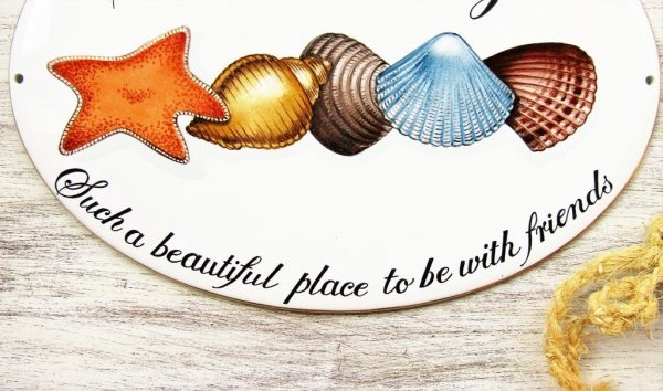 custom hand painted shell cottage house sign detail