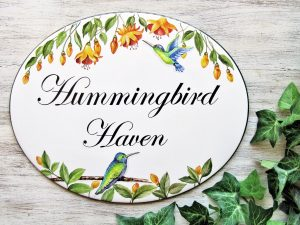 hummingbird custom house sign