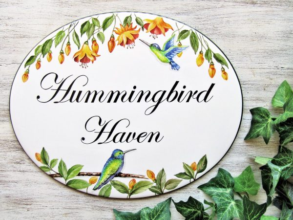 hummingbird custom house sign