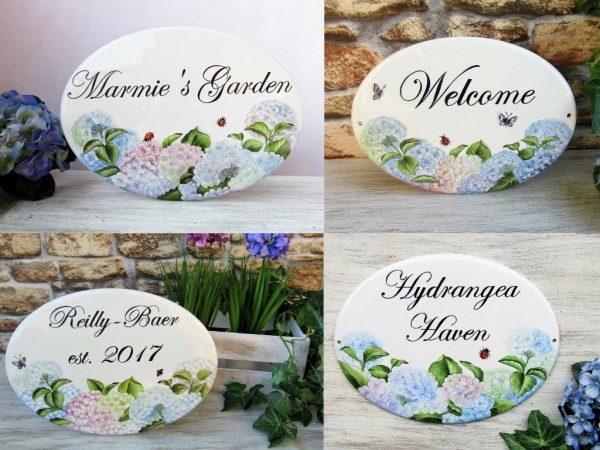 hydrangea custom house sign variations