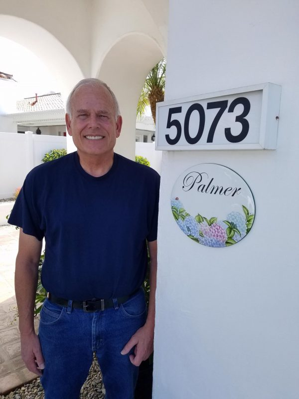 Hydrangea house sign hanging outside