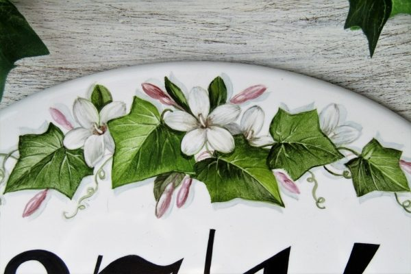 Jasmine flowers and ivy hand painted house number sign