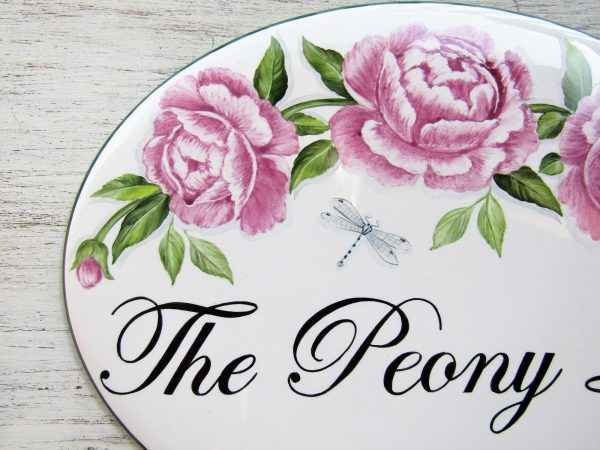 custom hand painted peony house sign
