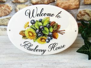 welcome home blueberry sign