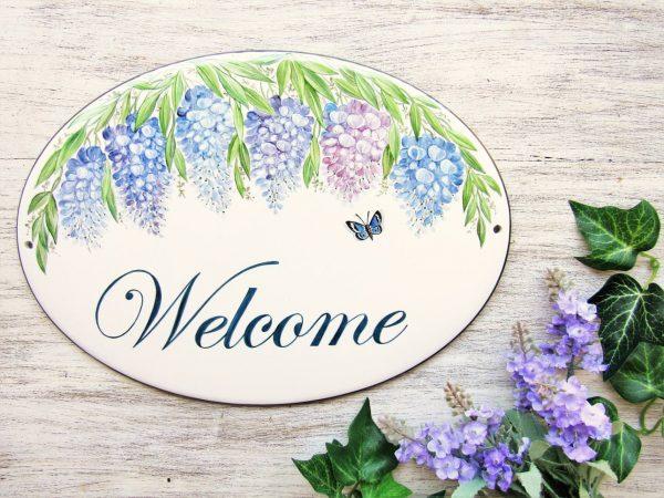 custom wisteria welcome sign