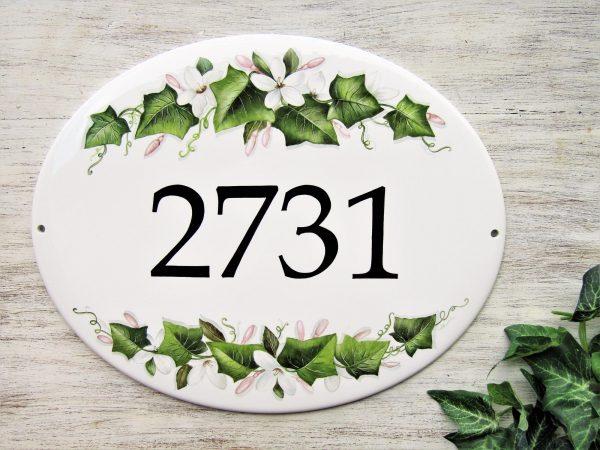 Jasmine and Ivy Leaves Custom Number Plaque