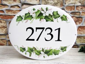 Jasmine and Ivy Leaves Custom Number Plaque